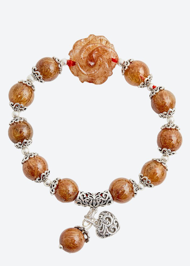 Vòng tay hoa mẫu đơn thạch anh tóc đỏ Ngọc Quý Gemstones