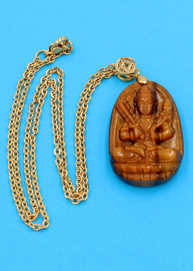 Vòng cổ Hư Không Tạng bồ tát - đá mắt hổ 3.6cm DIVMHB6 - dây inox vàng - tuổi Sửu, Dần