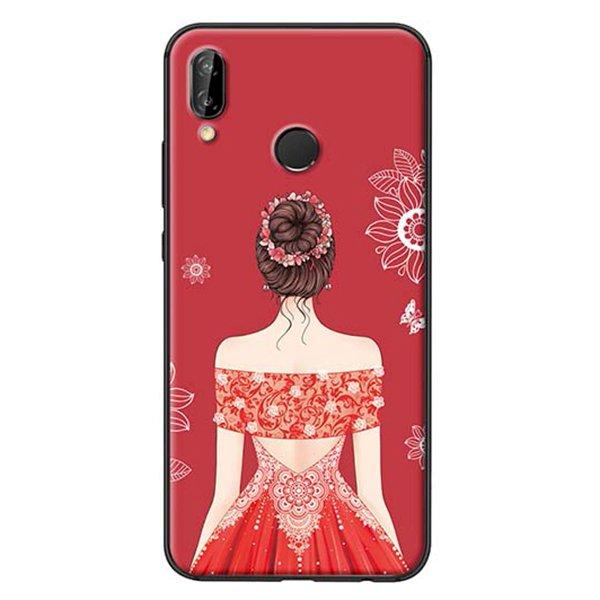 Ốp Lưng Dành Cho Huawei Nova 3E Cô Gái Váy Đỏ Áo Xẻ Vai
