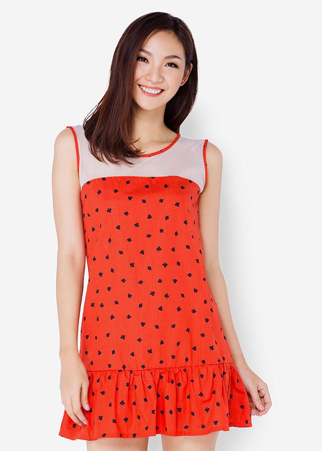Đầm Đuôi Cá Phối Ren - Đỏ Cam - Citino