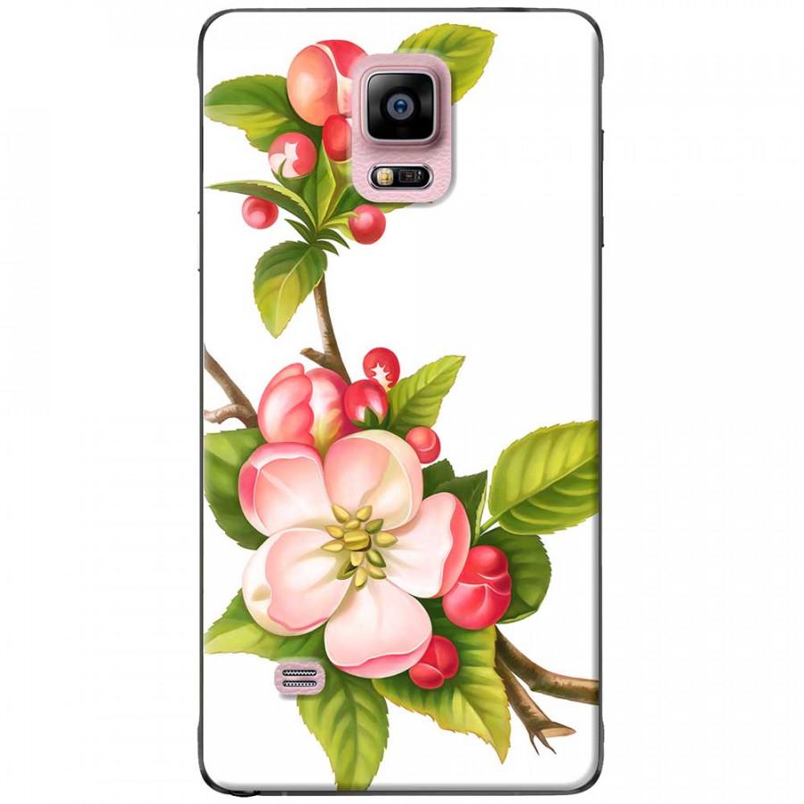 Ốp lưng dành cho Samsung Galaxy Note 4 mẫu Hoa đào đỏ nền trắng