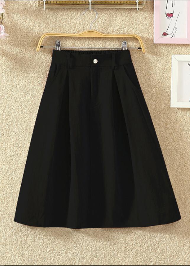 1101794478866 - Chân váy nữ thời trang chữ A túi chéo vải kaki cao cấp free size VAY04