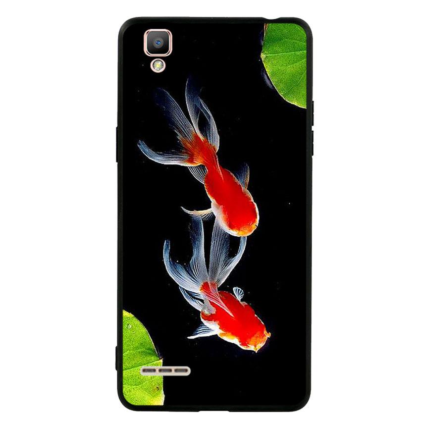 Ốp lưng nhựa cứng viền dẻo TPU cho điện thoại Oppo F1 - Cá Koi 03