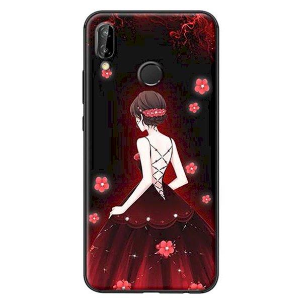 Ốp Lưng Dành Cho Huawei Nova 3E Cô Gái Váy Đỏ Hoa Hồng