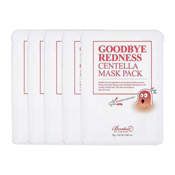 Combo 5 Mặt nạ dưỡng da trị mụn từ rau má Benton Goodbye Redness Centella Mask Pack x5