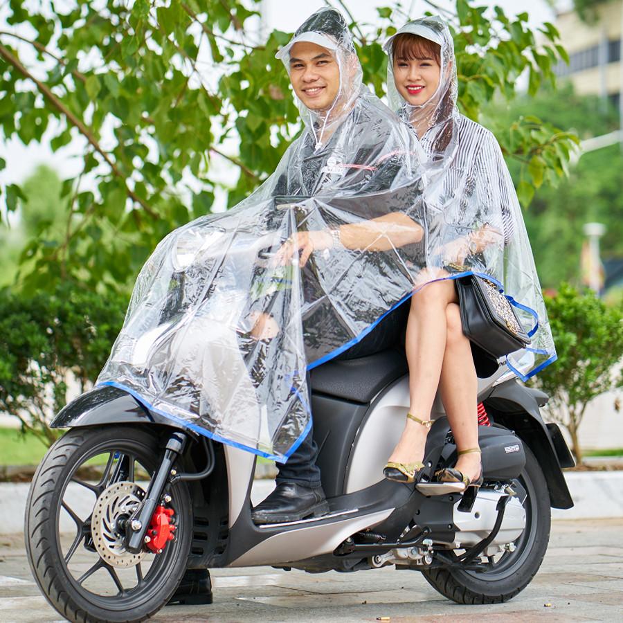 Áo mưa trong suốt 2 đầu có khẩu trang che mặt SKU108