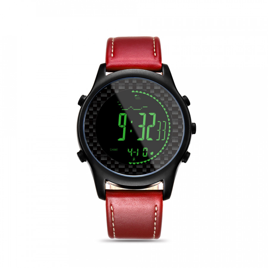 Spovan Digital Smart Watch with Genuine Leather Band Sport Watches Wristwatch Compass Pacer Pedometer Waterproof LED