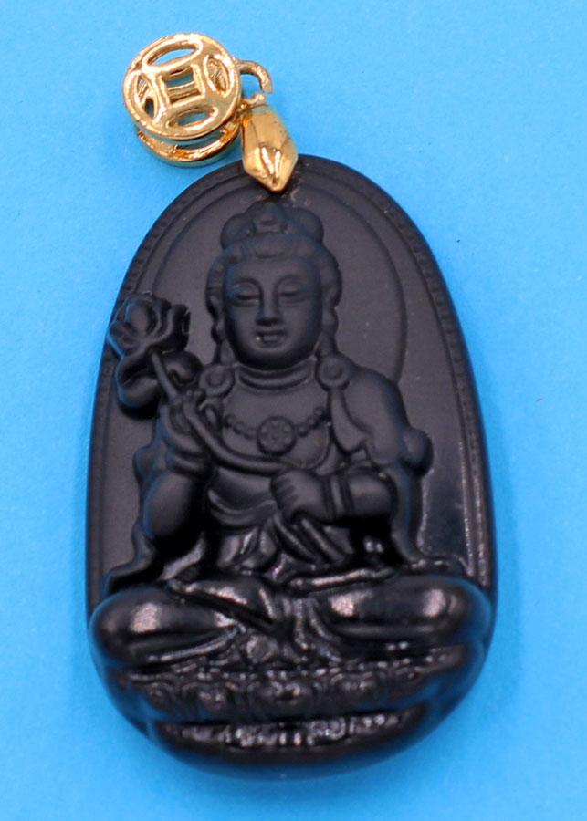 Mặt Phật Đại Thế Chí Bồ Tát - thạch anh đen 3.6cm - tuổi Ngọ