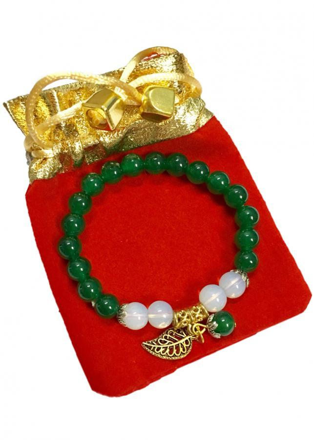Vòng đeo tay nữ đá thạch anh xanh lá cây gắn lá vàng may mắn VTN06 ( màu xanh lá cây, 8li)