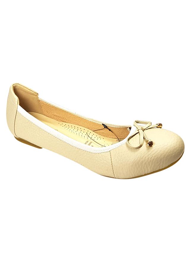 Giày Búp Bê Da Bò Nơ Chuông Viền Thun Sulily B02-III17XAMTRANG