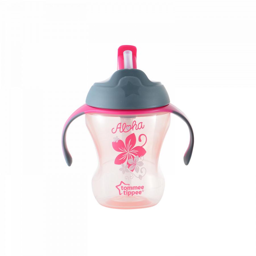 Bình tập uống có ống hút cho bé Tommee Tippee 230ml từ 9 tháng - Training Straw Hồng