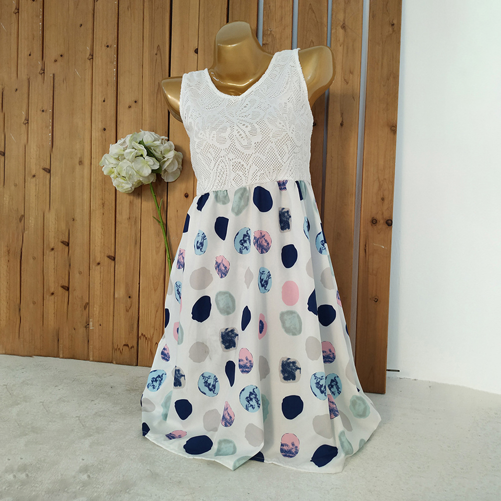 Leisure Lace Sleeveless O-Neck Dots Printed Women Summer Short Dress Outfits