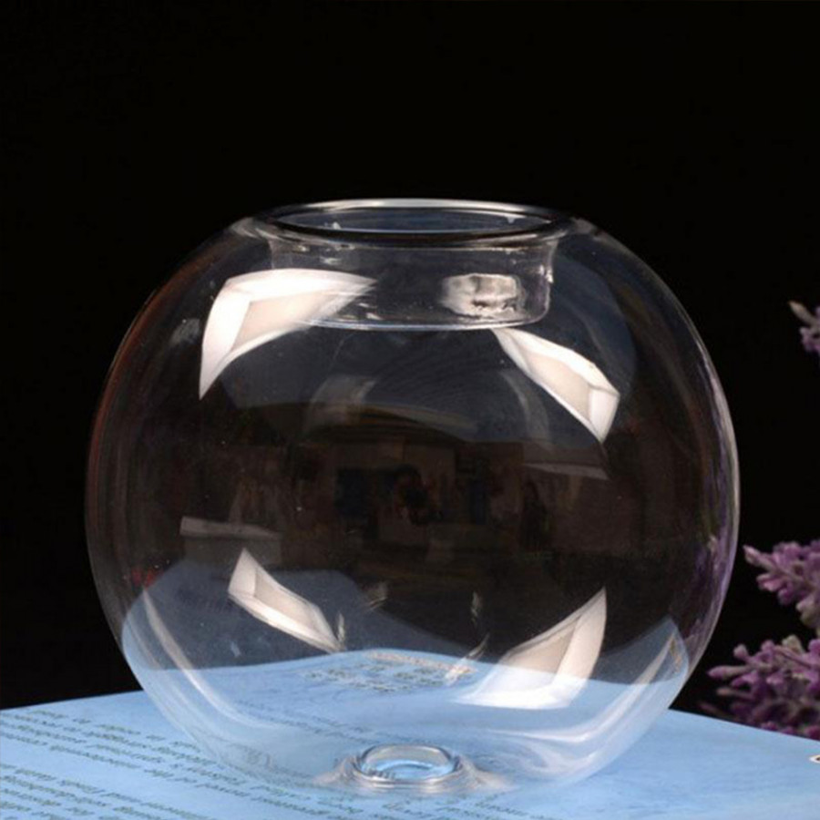 Candle Holder Candlestick Round Glass Transparent Wedding Ornament