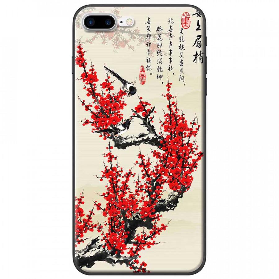 Ốp lưng dành cho iPhone 7 Plus mẫu Hoa đào đỏ thư pháp
