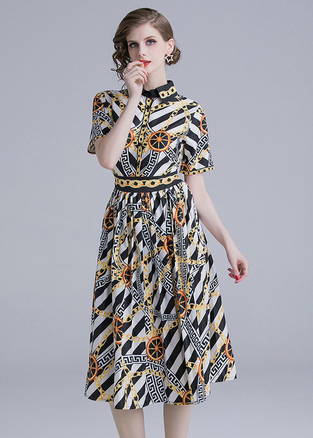 Đầm xòe dạo phố kiểu đầm xòe sơ mi in họa tiết mắc xích ROMI1691