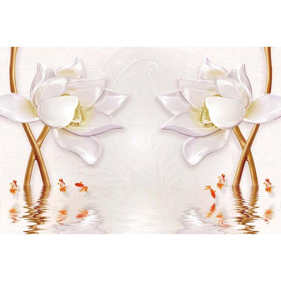 Tranh dán tường 3d | Tranh dán tường phong thủy hoa sen cá chép 3d 308
