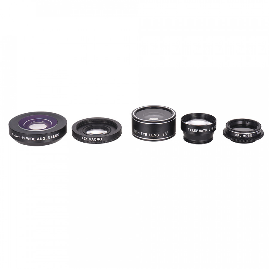 Universal Mobile Phone Clip-on Lens Phone Lens Kit 0.4-0.6x Super Wide Angle + 15x Macro + 198 Degree Fish Eye + 2x