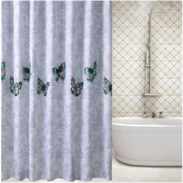 Rèm Phòng Tắm / Rèm Cửa Sổ Họa tiết Hoa Bướm Xanh ngọc lớn 180cm X 180cm Loại 1( Cao Cấp )