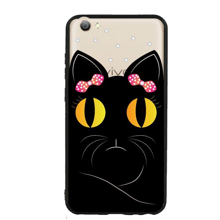 Ốp lưng viền TPU cho Vivo V5s - Mèo Mun 02