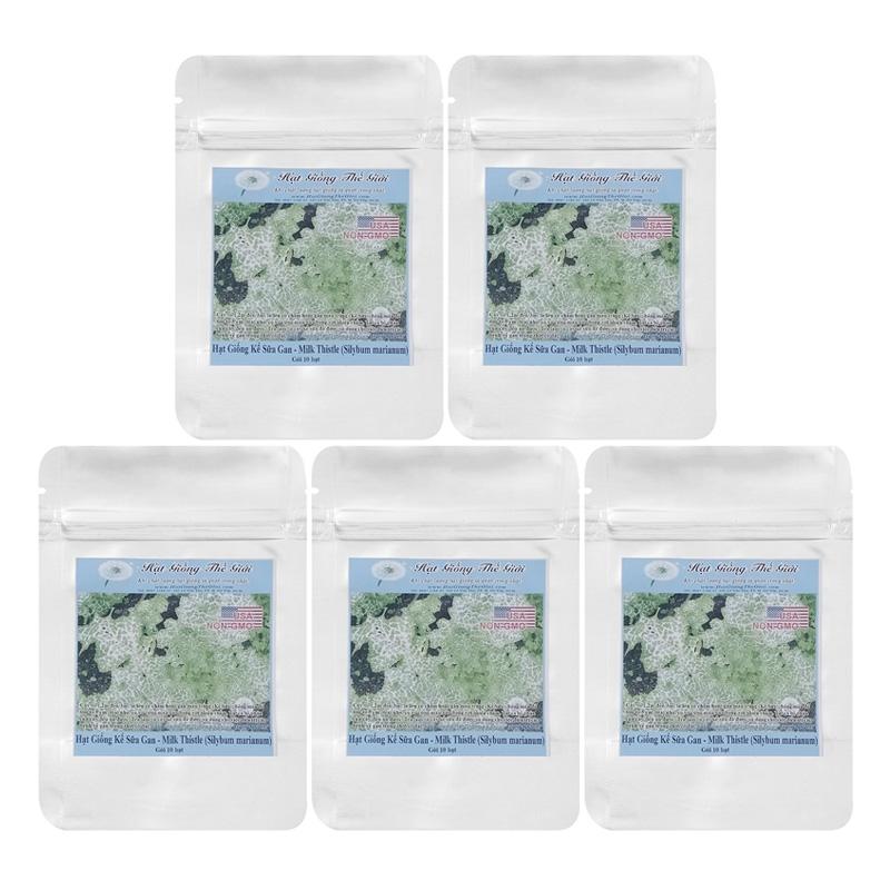 Bộ 5 túi 10 Hạt Giống Kế Sữa Gan - Milk Thistle (Silybum marianum)