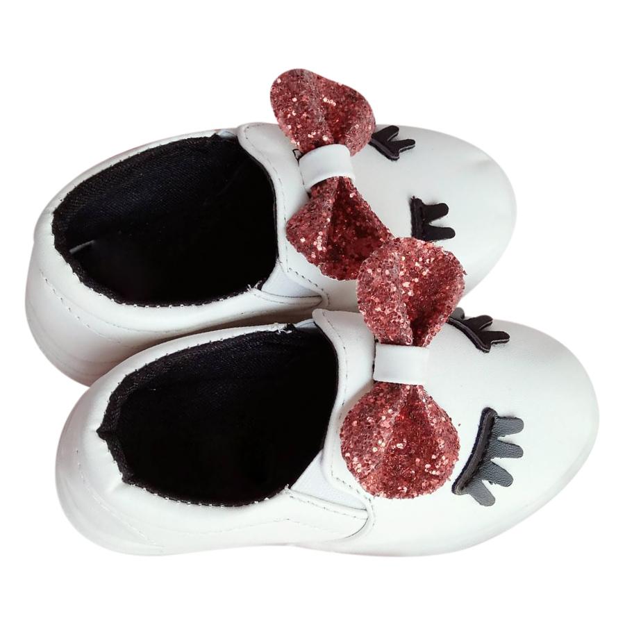 Giày Bé Gái Bít Nơ Đỏ 2 Mắt Suri House (Trắng)
