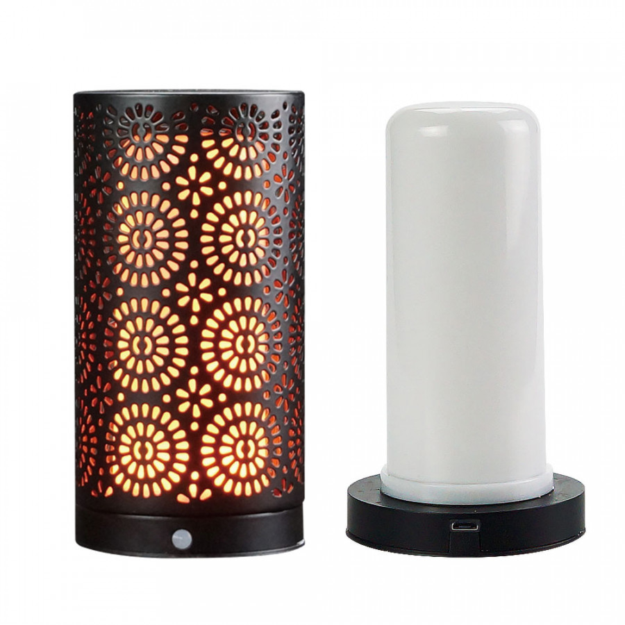 LED Magnet Flickering Flame Light USB Rechargeable Water-Resistant Decorative Table Night Lamp with Magnetic Base