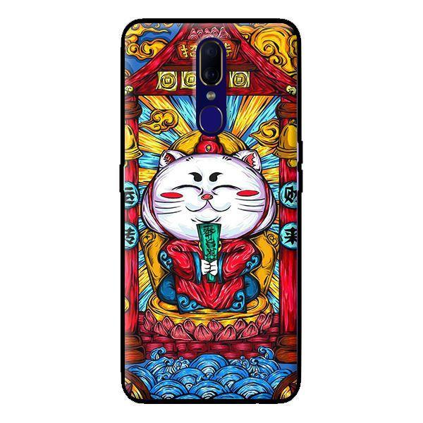 Ốp in cho Oppo F11 Mèo May Mắn Trắng - Hàng chính hãng