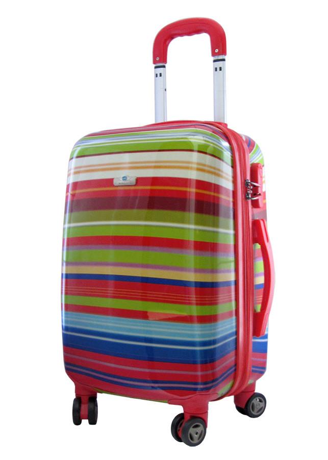 Vali nhựa in hình 7 sắc màu 2 dây kéo trọng lượng nhẹ TK012