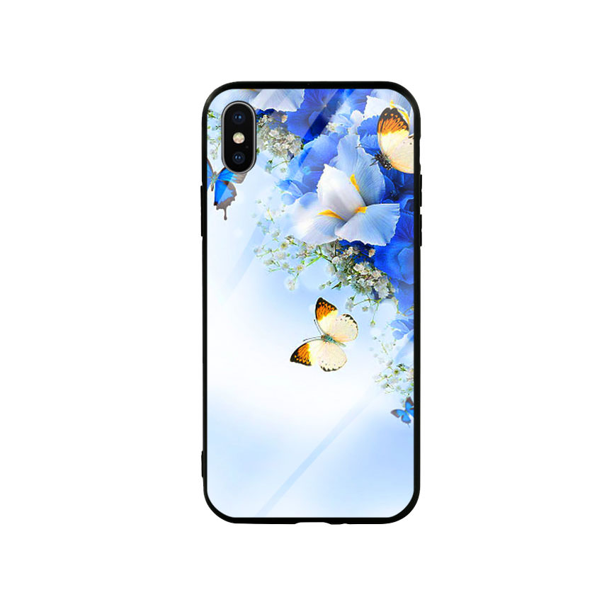 Ốp lưng kính cường lực cho điện thoại Iphone X / Xs - Butterfly 04