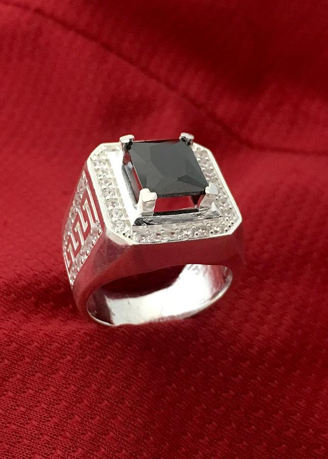 Nhẫn nam đá đen hình chữ nhật Bạc QTJ - NA17(BẠC)