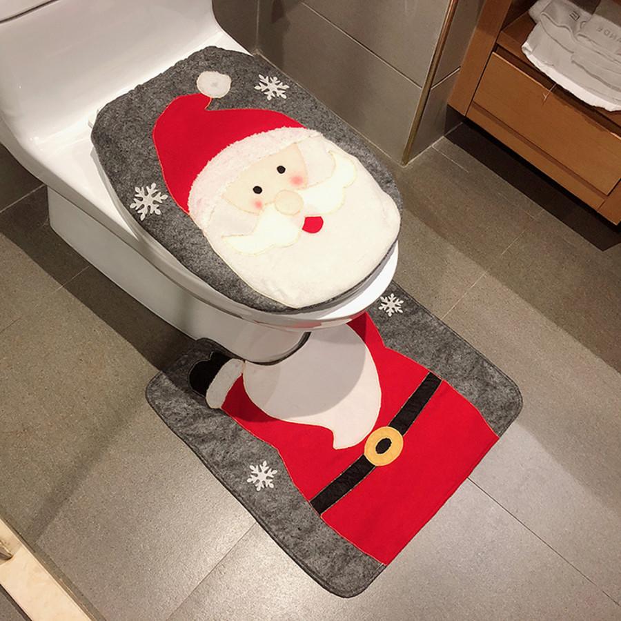 2pcs/set Christmas Bathroom Decorations Toilet Seat Cover + U-shaped Rug Set Christmas Ornaments--Santa - (Size Santa)
