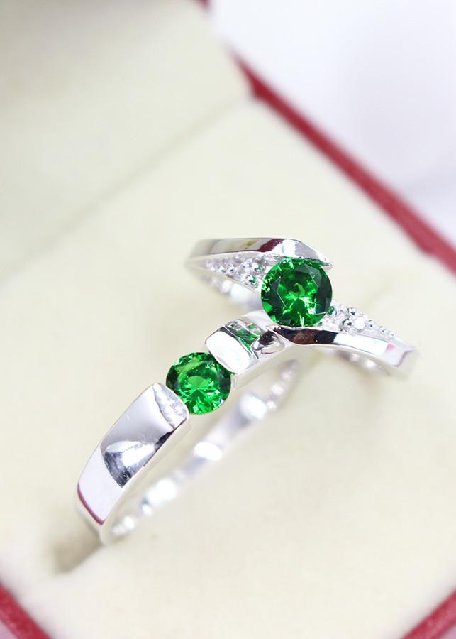 Nhẫn đôi bạc nhẫn cặp bạc đẹp đính đá xanh lá ND0007