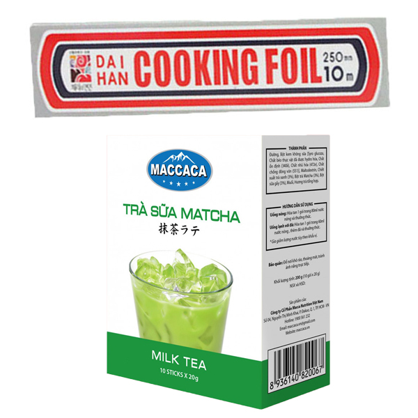 Combo Giấy bạc bọc thực phẩm Seven Cooking Foil (25cm x 4m) + Trà sữa Matcha Macca (Hộp 10 gói x 20g)