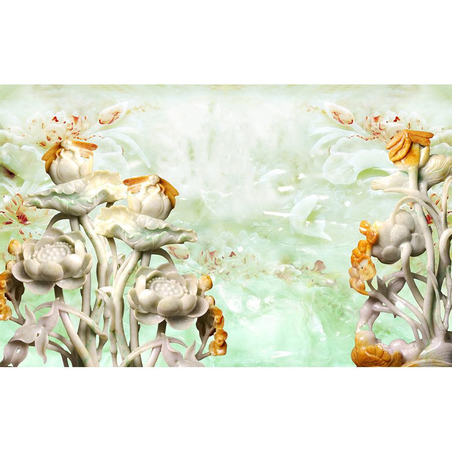 Tranh dán tường 3d | Tranh dán tường phong thủy hoa sen cá chép 3d 110