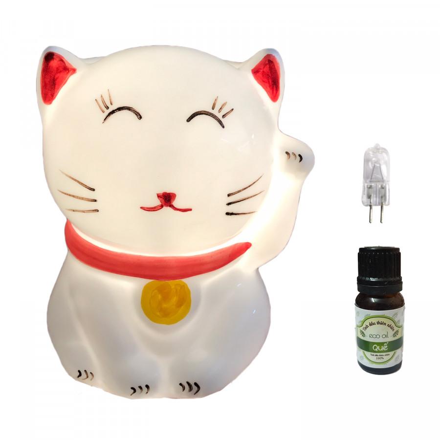 Combo Đèn xông tinh dầu mèo thần tài và 1 chai tinh dầu quế Eco oil 10ml cùng 1 bóng đèn