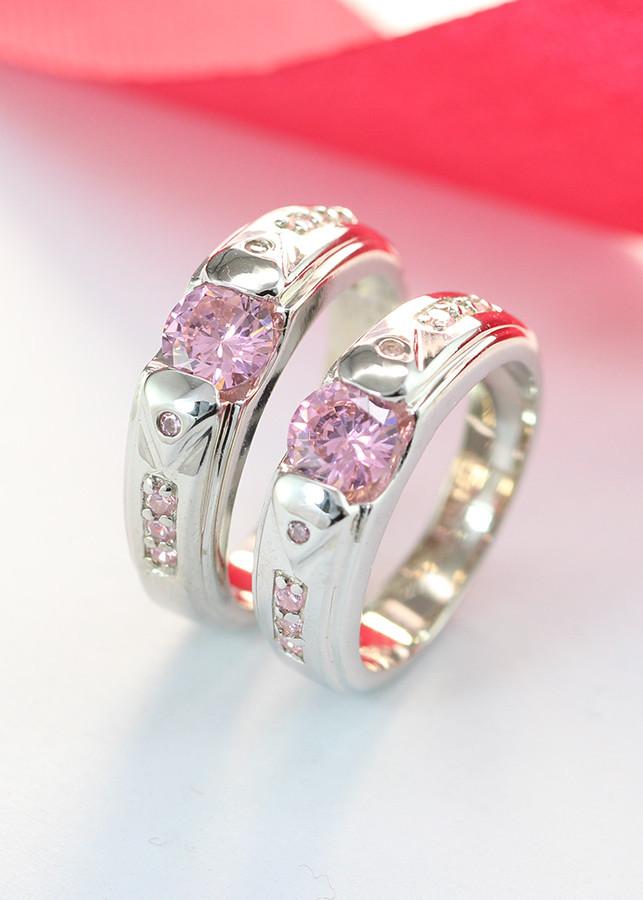 Nhẫn đôi bạc đính đá theo mệnh ND0280 hồng