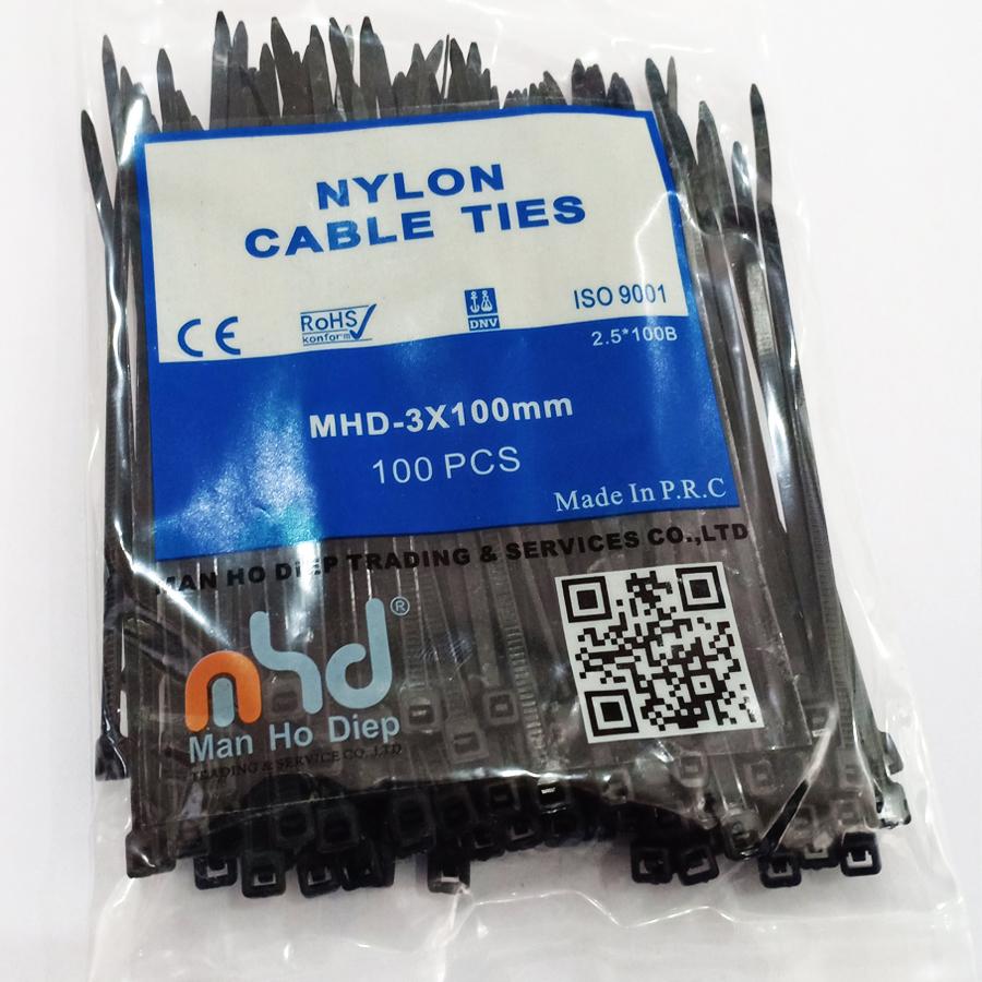 Dây rút 2.5 x100mm màu đen, siêu chắc ( Cable tie - MHD3x100)