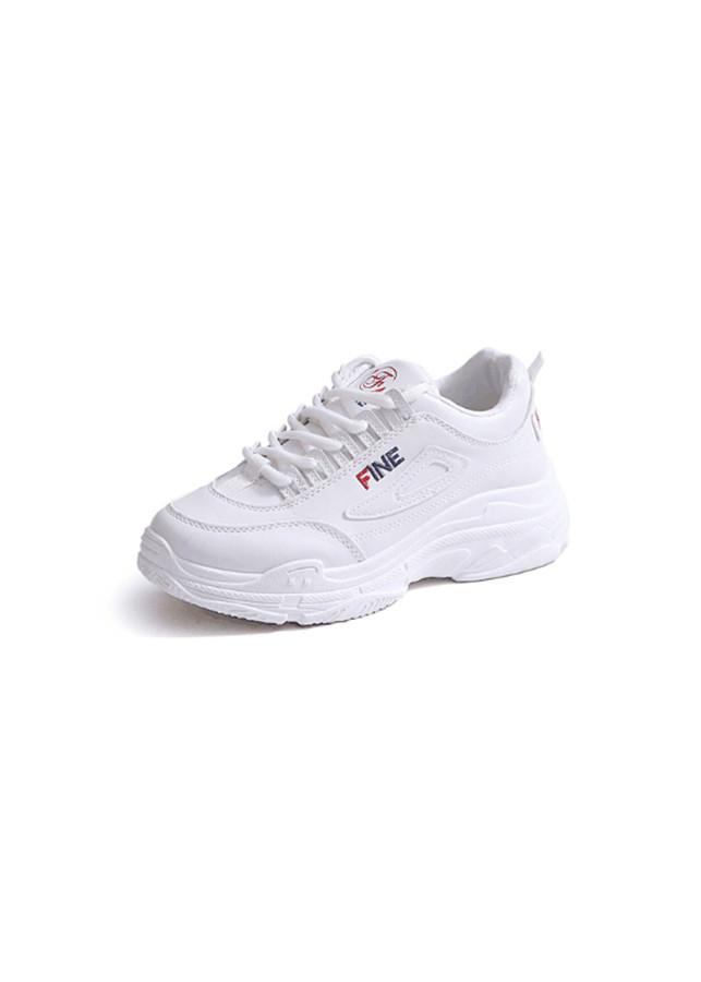 Giay Nu Sneaker Thể Thao Nữ Màu Trắng Đế Đúc Nguyên Khối Tăng Chiều Cao 2407