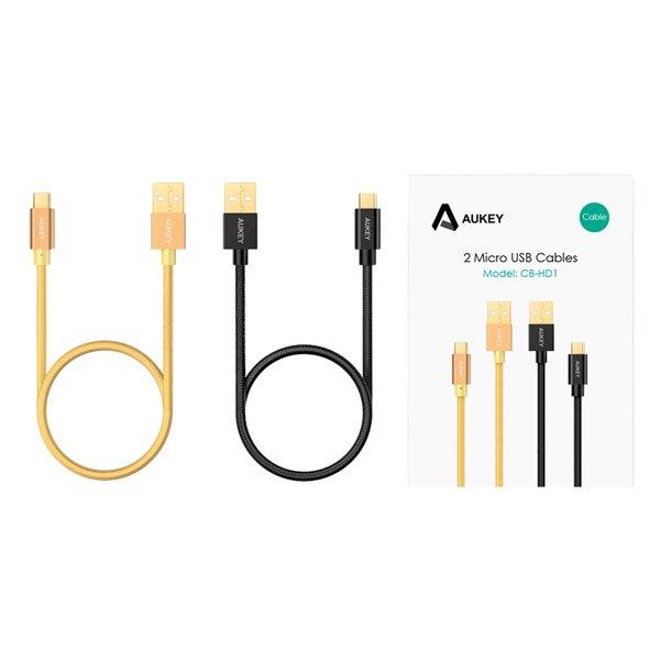 Bộ 2 Dây Cáp Sạc Micro USB Aukey CB-HD1 1.0m - Hàng Chính Hãng
