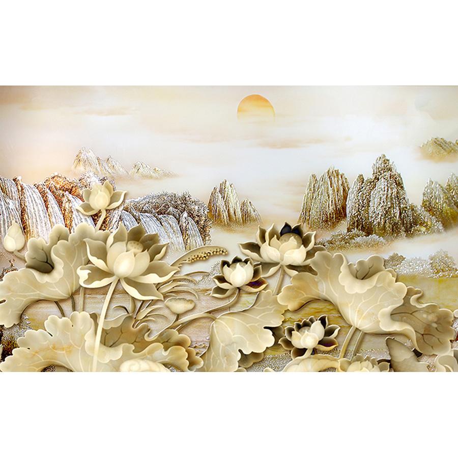 Tranh dán tường 3d | Tranh dán tường phong thủy hoa sen cá chép 3d 113
