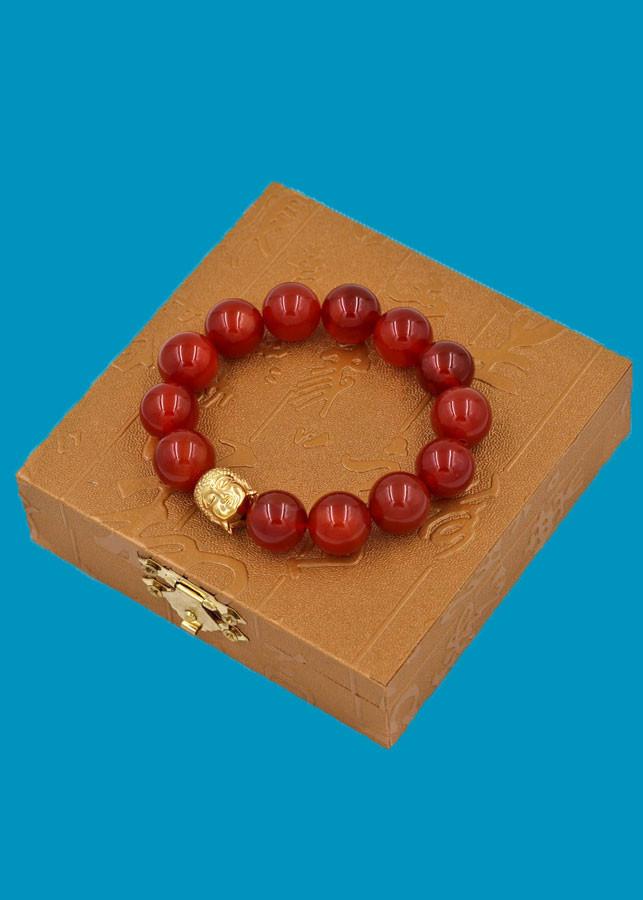 Vòng đeo tay mã não đỏ 14 ly cẩn hạt Phật A Di Đà inox vàng VMNONLV14 HỘP GỖ - hợp mệnh Hỏa, mệnh Thổ