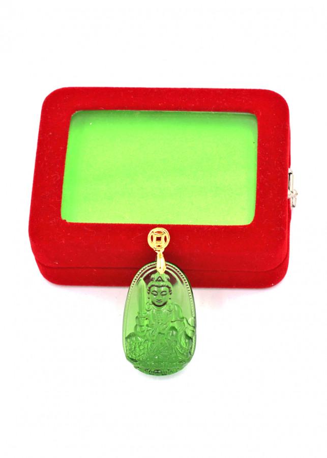 Mặt phật Văn Thù Bồ Tát thủy tinh xanh lá 3.6cm kèm hộp nhung