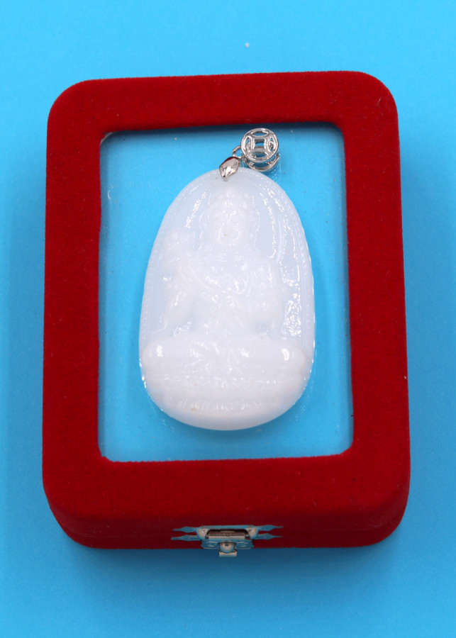 Mặt phật Đại Thế Chí Bồ Tát trắng 5cm kèm hộp nhung