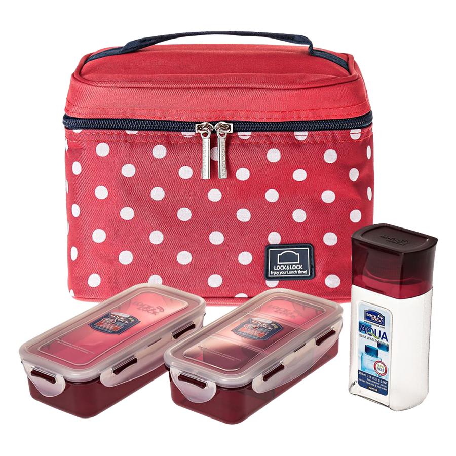 Bộ Túi Hộp Cơm LockLock Dotted Pattern Bag HPL758S3DR (470 - 470 - 300 ml) - Đỏ