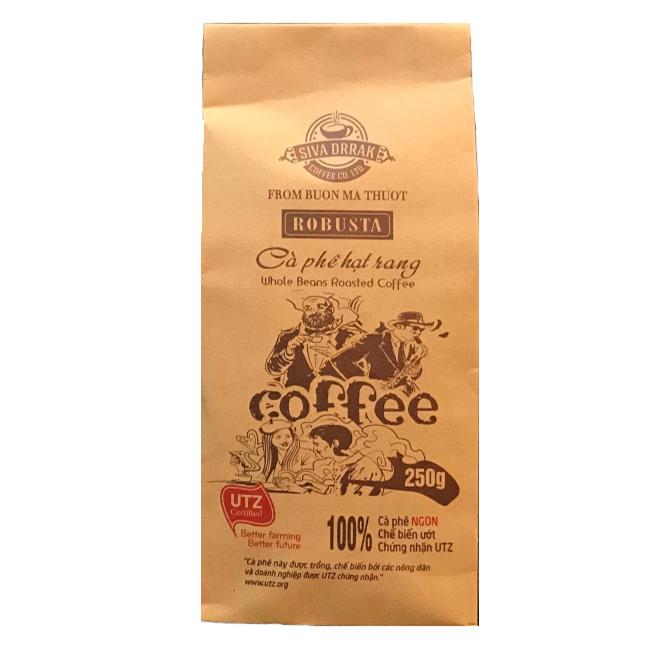 Cà phê hạt rang Robusta SIVA DRRAK gói 250g
