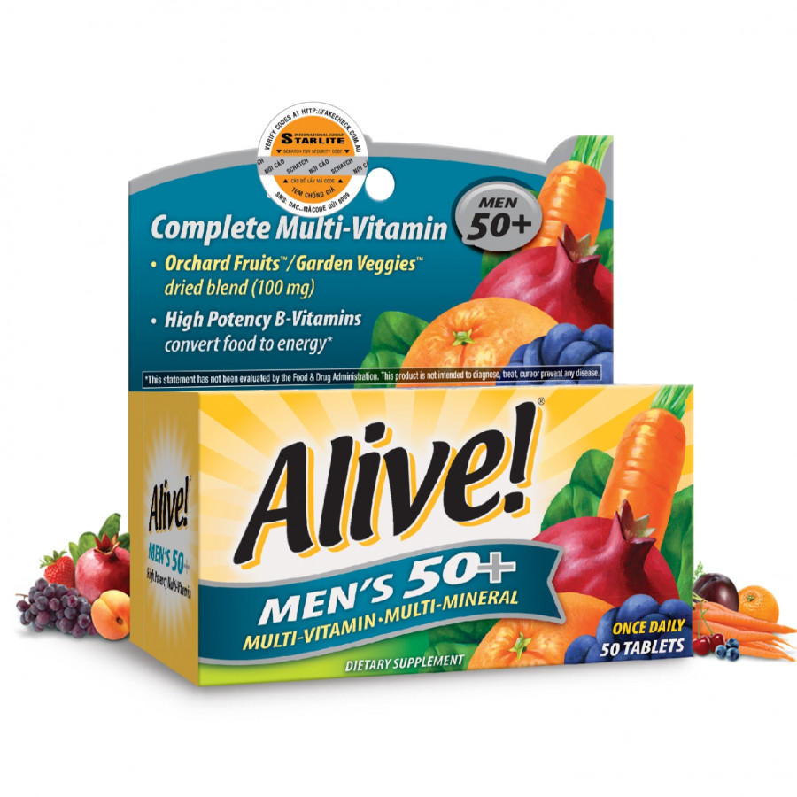 Thực Phẩm Chức Năng Vitamin Tổng Hợp Nam Giới Trên 50 Tuổi Alive Men's 50+, 50 Viên