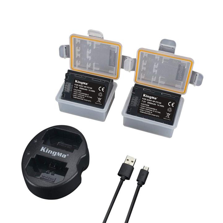 Bộ 2 pin sạc và đốc sạc đôi KingMa NP-FZ100 cho Sony A9 A7III A7RIII - Hàng chính hãng