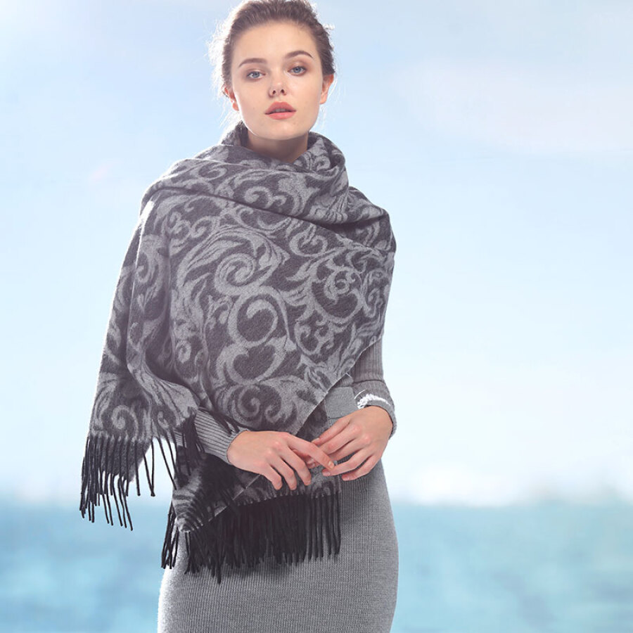 Hengyuanxiang wool ladies scarf thickening large shawl dual-use autumn and winter long warm double-sided jacquard fashion European version...