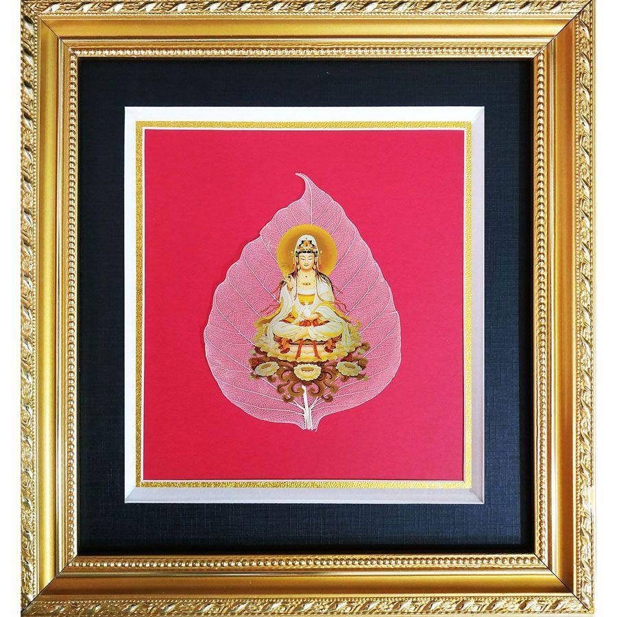 Tranh Hình Phật Quan Âm Trên Lá Bồ Đề HPB-36