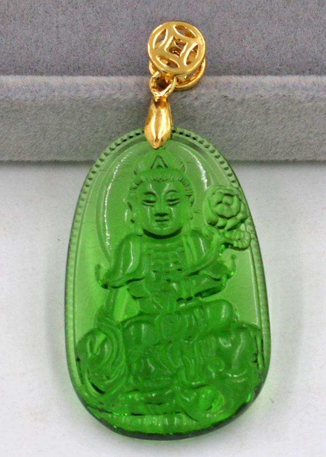Mặt phật Phổ Hiền Bồ Tát thủy tinh xanh lá 3.6cm
